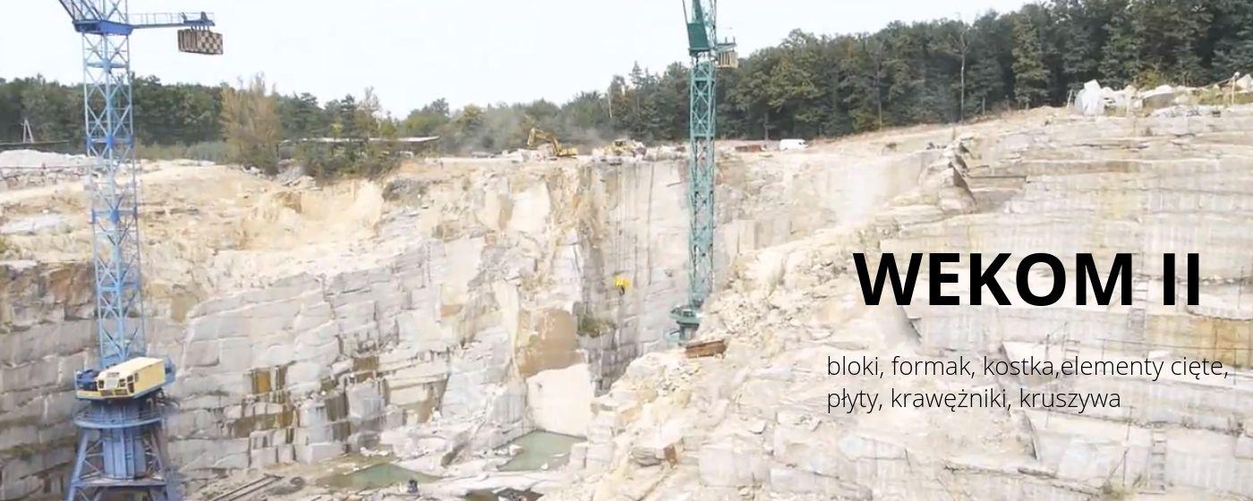 Wekom II Strzegom:  granit,  kostka granitowa,  bloki bryły granitowe, kruszywa, kamień łamany y